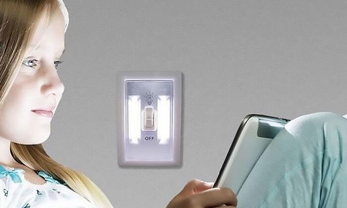 4 זוג מנורות מתג LED עוצמתית נדבקת