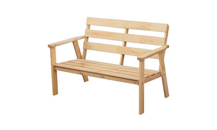 2 ספסל גינה מעץ מלא בצבע טבעיBRADEX - משלוח חינם