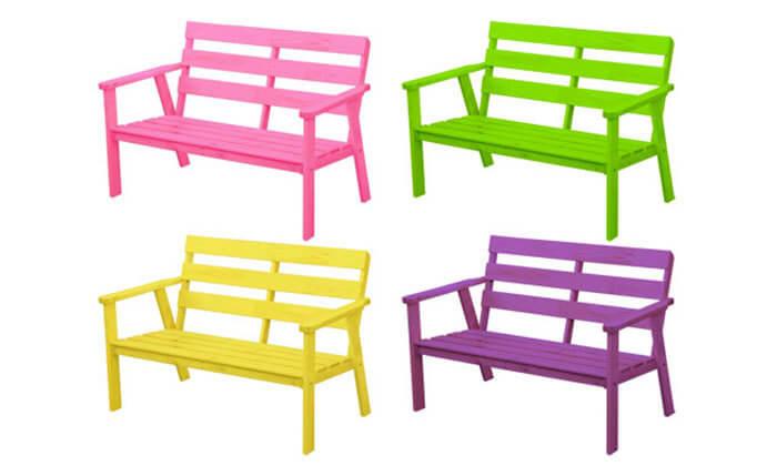 3 ספסל גינה מעץ מלא בצבע טבעיBRADEX - משלוח חינם