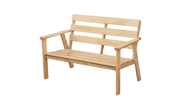 4 ספסל גינה מעץ מלא בצבע טבעיBRADEX - משלוח חינם