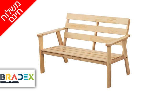 2 ספסל גינה מעץ מלא NEWPORT- משלוח חינם!