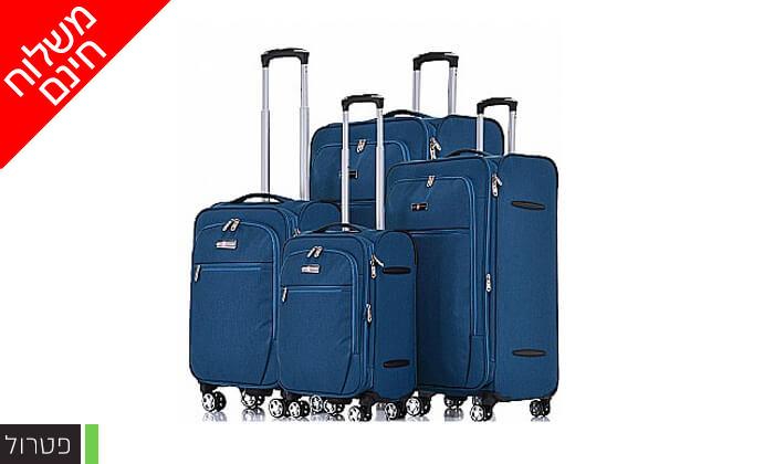 5 סט 4 מזוודות בד SWISS VOYAGER - משלוח חינם