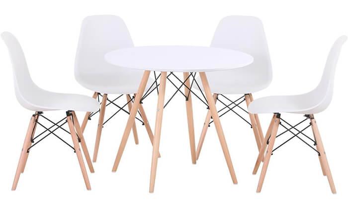 3 פינת אוכל עגולה מעץ עם כסאות