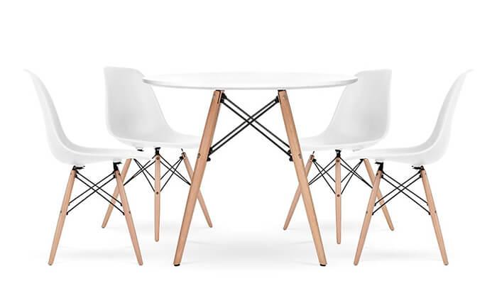7 פינת אוכל עגולה מעץ עם כסאות