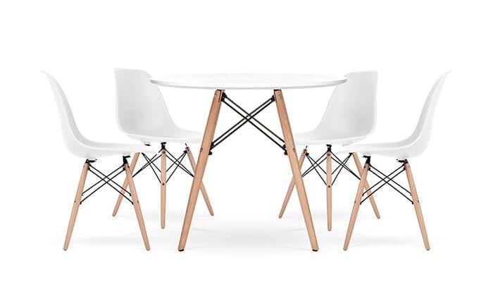 14 פינת אוכל עגולה מעץ עם כסאות