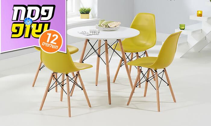 8 פינת אוכל עגולה מעץ עם כסאות