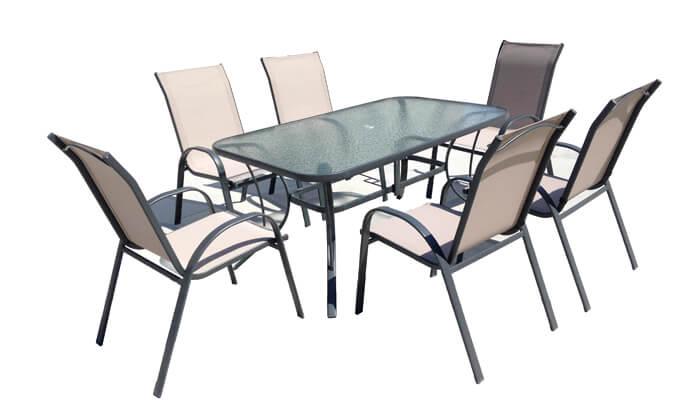 3 מערכת ישיבה לגינה עם 6 כסאות - משלוח חינם!