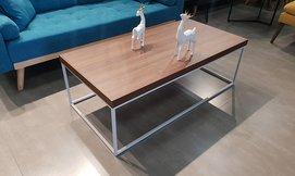 שולחן סלון מלבני מעץ ומתכת