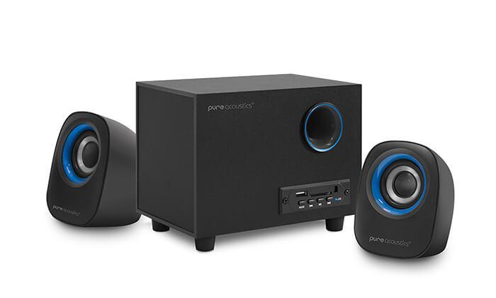 7 מערכת רמקולים למחשב Pure Acoustics עם חיבור Bluetooth - משלוח חינם!
