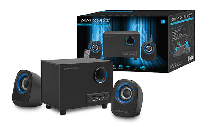 10 מערכת רמקולים למחשב Pure Acoustics עם חיבור Bluetooth - משלוח חינם!