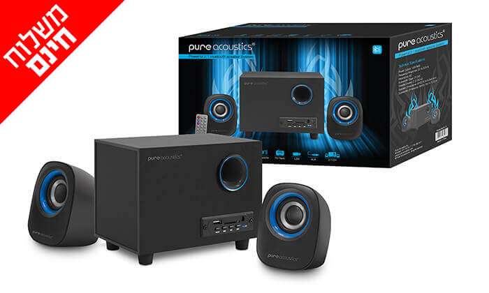 2 מערכת רמקולים למחשב Pure Acoustics עם חיבור Bluetooth - משלוח חינם!