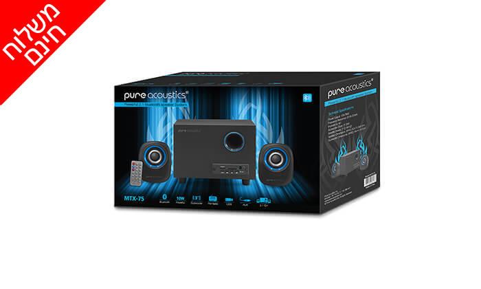 5 מערכת רמקולים למחשב Pure Acoustics עם חיבור Bluetooth - משלוח חינם!