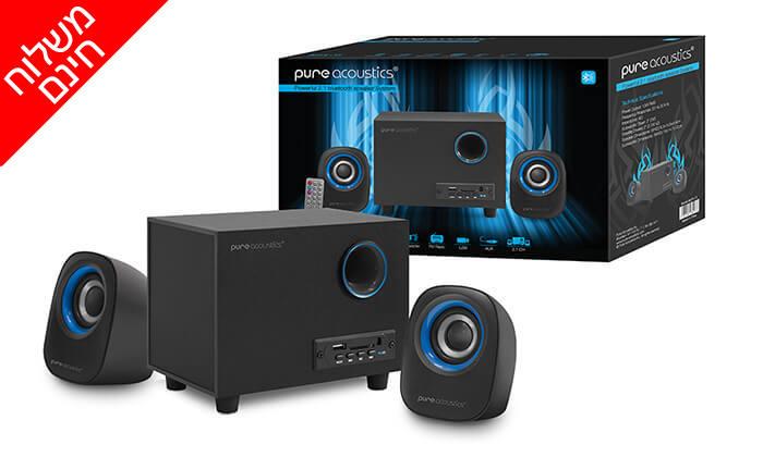 3 מערכת רמקולים למחשב Pure Acoustics עם חיבור Bluetooth - משלוח חינם!