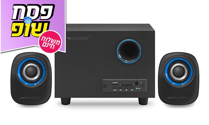 8 מערכת רמקולים למחשב Pure Acoustics עם חיבור Bluetooth - משלוח חינם!