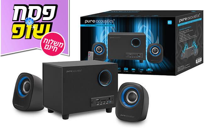 9 מערכת רמקולים למחשב Pure Acoustics עם חיבור Bluetooth - משלוח חינם!