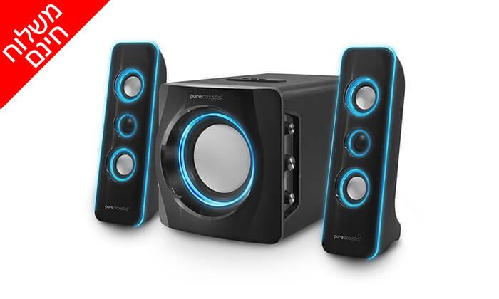 2 מערכת רמקולים Pure Acoustics עם חיבור Bluetooth - משלוח חינם!