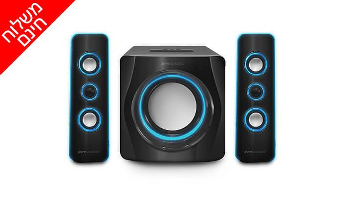 3 מערכת רמקולים Pure Acoustics עם חיבור Bluetooth - משלוח חינם!