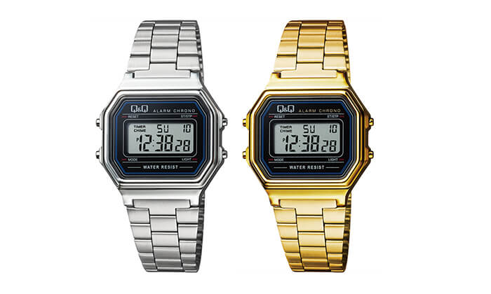 2 שעון יד דיגיטלי מלבני לאישה Q&Q