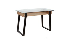 שולחן עבודה זכוכית בשילוב עץ