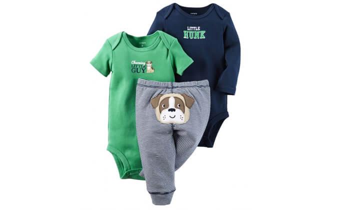 3 סט 2 בגדי גוף ומכנס לתינוק קרטרס - Carter's
