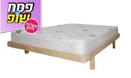בסיס מיטה זוגית מעץ מלא ומזרן