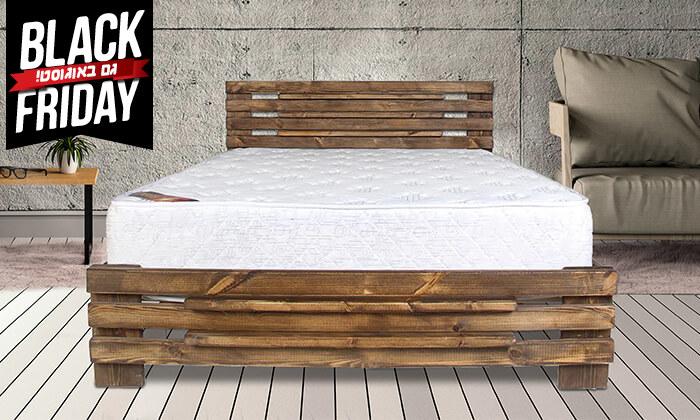 4 אולימפיה: מיטה מעץ מלא עם מזרן אורתופדי