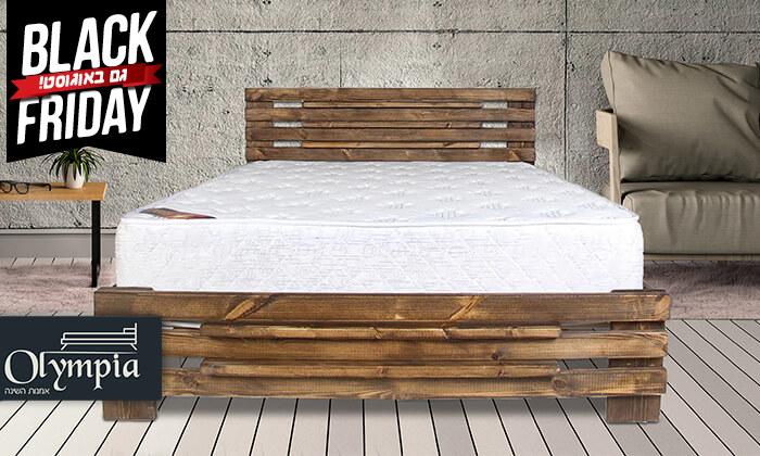 2 אולימפיה: מיטה מעץ מלא עם מזרן אורתופדי