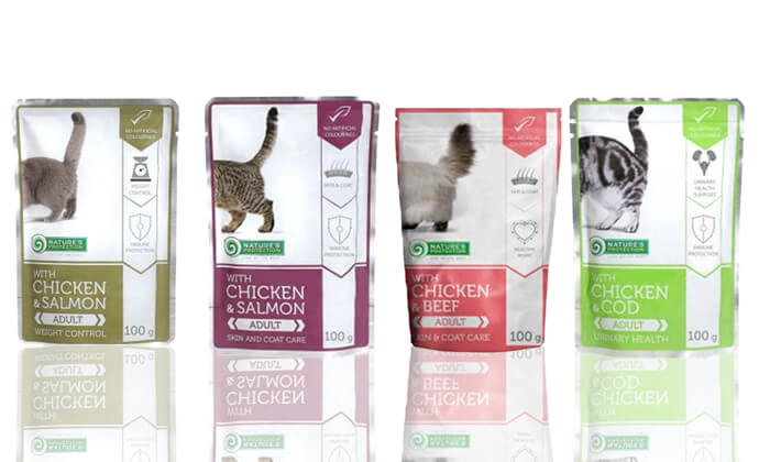3 מארז 24 פאוצ'ים של מזון רטוב לחתולים Nature's Protection - משלוח חינם!
