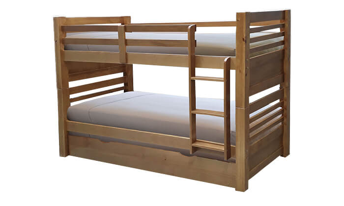 3 מיטת קומותיים מעץ מלא עם מיטת חבר House Design