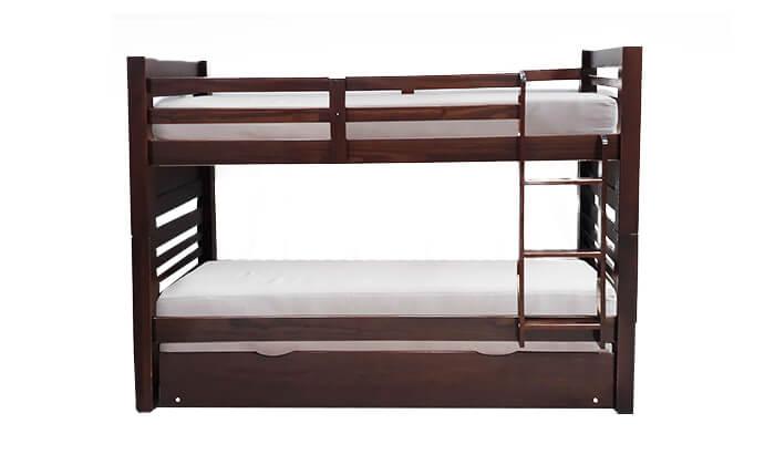 4 מיטת קומותיים מעץ מלא עם מיטת חבר House Design