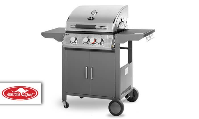 3 גריל גז Australia Chef דגם אפולו 3 - כולל גריל מורכב ומשלוח חינם!