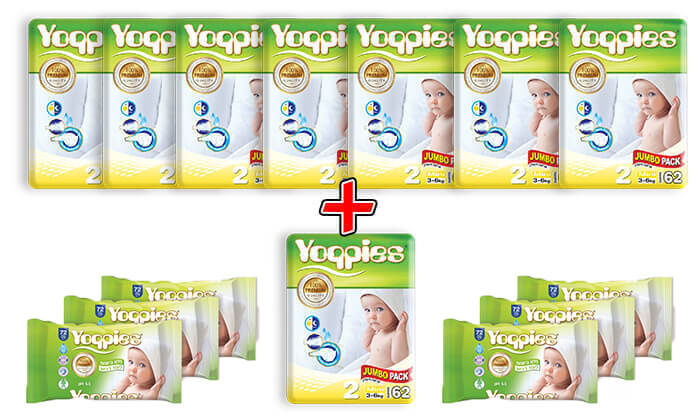 3 מארז 8 חבילות חיתולי פרימיום Yoppies -