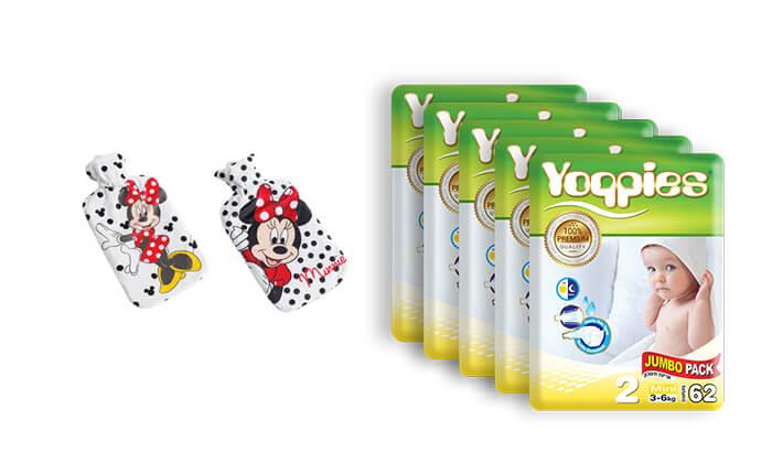 2 מארז חמש חבילות חיתוליפרימיוםYoppies כולל בקבוק חם דיסני