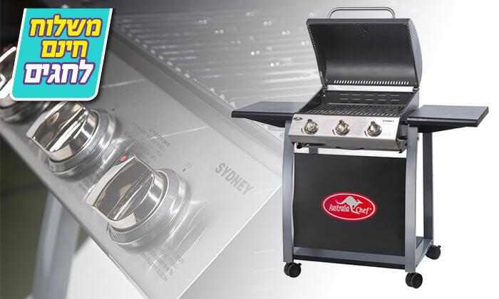 3 גריל גז 3 מבערים Australia Chef - משלוח חינם!