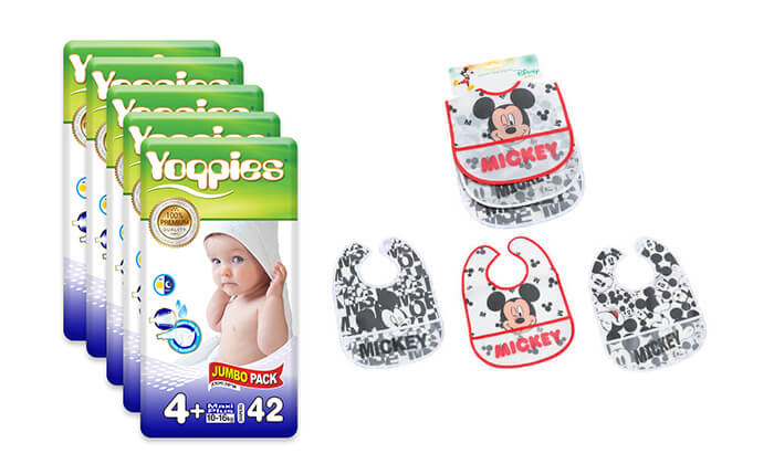 2 מארז חמש חבילות חיתוליפרימיום Yoppies כולל שלושה סינרים של דיסני