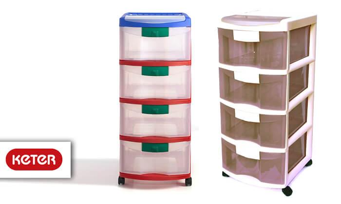 2 כתר: ארגונית פלסטיק 4 מגירות