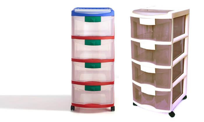 3 כתר: ארגונית פלסטיק 4 מגירות