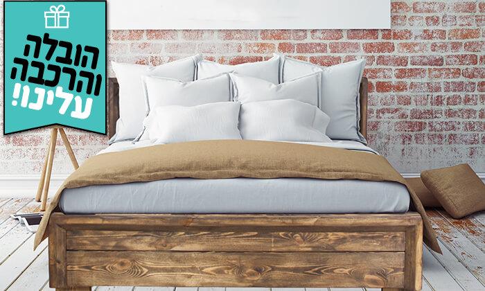 4 אולימפיה: מיטה מעץ מלא - הובלה והרכבה חינם