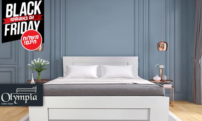 2 אולימפיה: מיטה עם בסיס עץ מלא - הובלה והרכבה חינם!