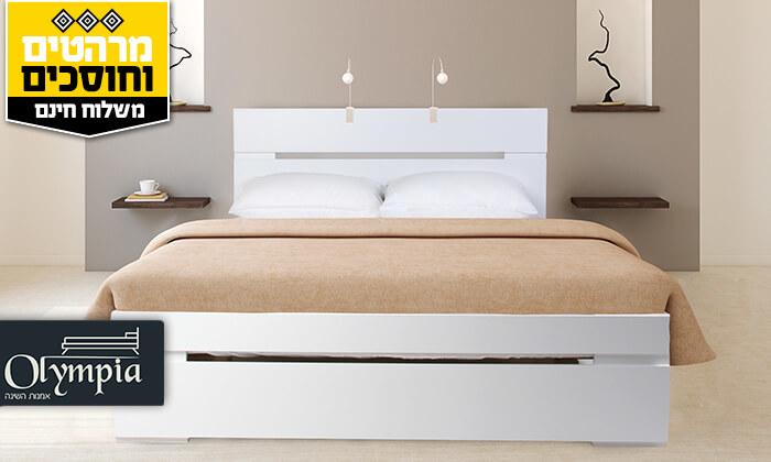 2 אולימפיה: מיטה מעץ עם מזרן אורתופדי - הובלה והרכבה חינם