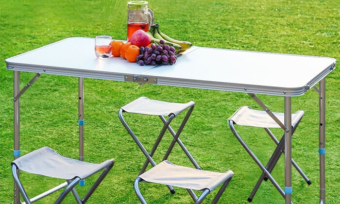 2 שולחן פיקניק מתקפל עם כיסאות