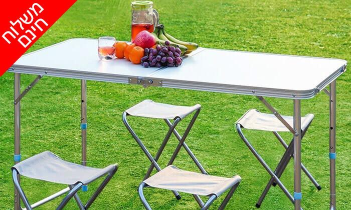 5 שולחן פיקניק מתקפל עם כיסאות - משלוח חינם!