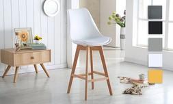 כיסא בר מרופד עם רגלי עץ מלא