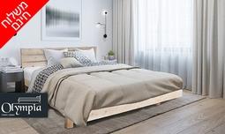 מיטת עץ מלא ברוחב וחצי עם מזרן