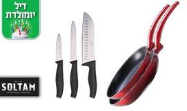 סט מחבתות וסכינים SOLTAM