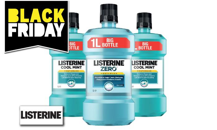 2 מארז 3 בקבוקי 1 ליטר לשטיפת פה ליסטרין Listerine