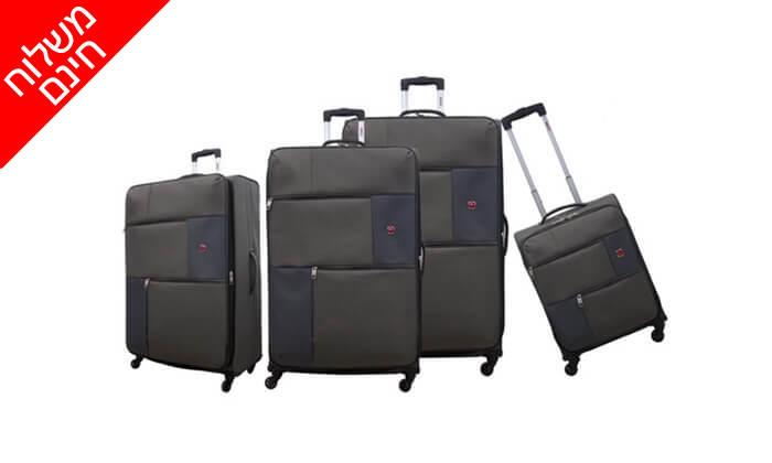 9 סט 3  מזוודות בד SWISS TRAVEL PREMIUM