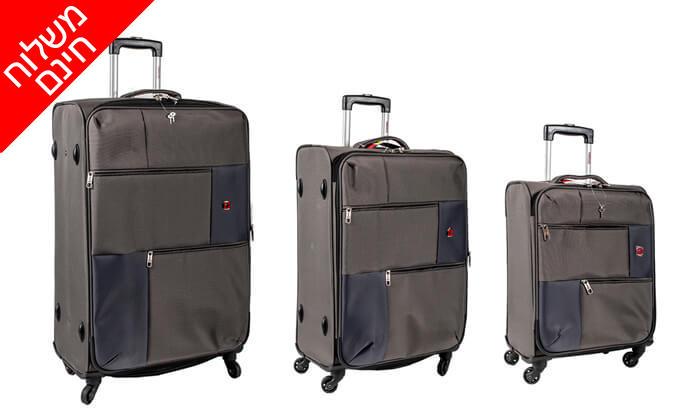 16 סט 3  מזוודות בד SWISS TRAVEL PREMIUM