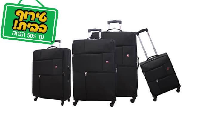 7 סט 3 או 4 מזוודות בד SWISS TRAVEL PREMIUM