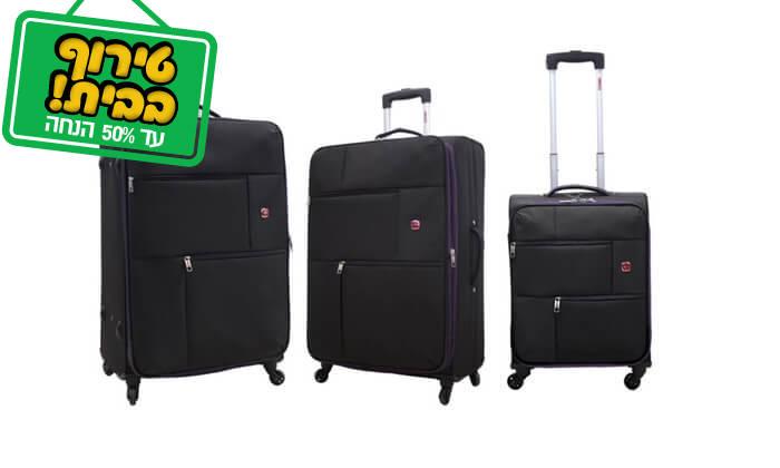 3 סט 3 או 4 מזוודות בד SWISS TRAVEL PREMIUM